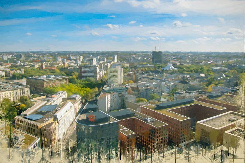 Geschilderde Berlijn Skyline II van Arjen Roos