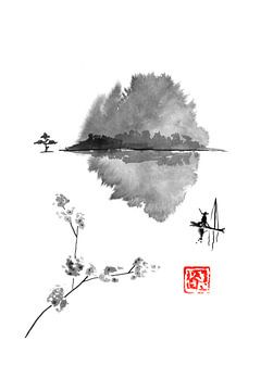 visser op de rivier Li van Péchane Sumie