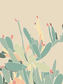 Illustratie van een cactusplant in zachte pastelkleuren van DeedyLicious