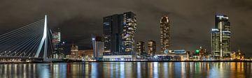 De Kop van Zuid, Rotterdam Nacht Skyline van Frank Herben