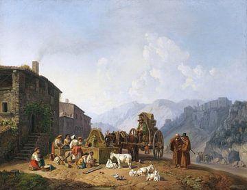 Am Dorfbrunnen in den italienischen Bergen, HEINRICH BÜRKEL, 1852-1853 von Atelier Liesjes