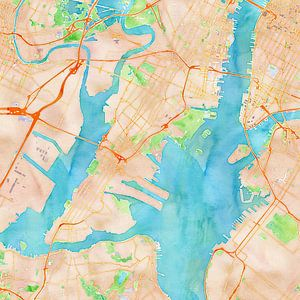 Kaart New York in waterverf van