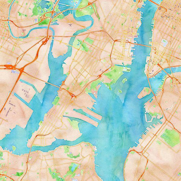 Kaart New York in waterverf van Creatieve Wereldkaarten
