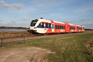 Der ARRIVA-Zug in ländlicher Landschaft von Gerard Erik van Vliet