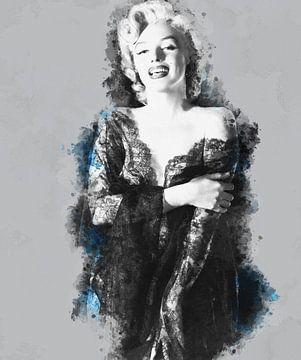 Pinup Marilyn Monroe in einem sexy Kleid mit blauer, digital manipulierter