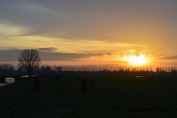 Zonsopkomst op platteland von Jacco de Stigter