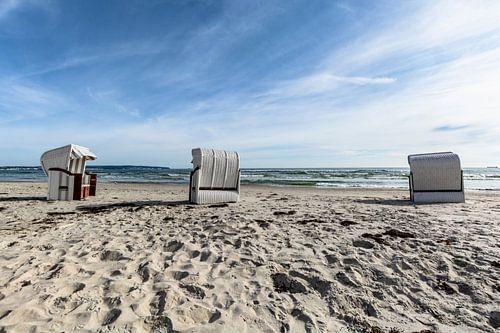 drei weiße Strandkörbe, Prora, Insel Rügen