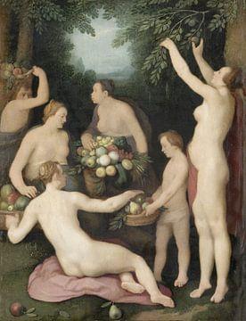 Pomona ontvangt de fruitoogst, Cornelis Cornelisz. van Haarlem,