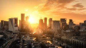 Skyline Rotterdam tijdens zonsondergang