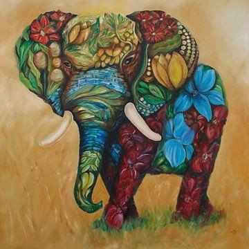 Gelukkige Bloemenolifant van Harri Spietz