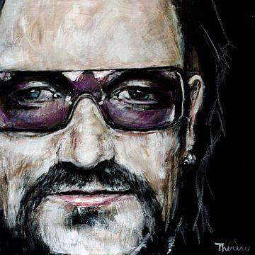 Portret van Bono, Paul David Hewson van Therese Brals