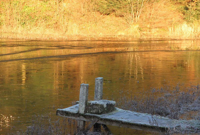 Bevroren meer met gouden gloed van Wilma Overwijn