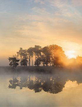 Krachtige zonsopgang op een rustige mistige lake_1 van Tony Vingerhoets