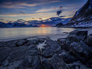 Zonsondergang Haukland strand