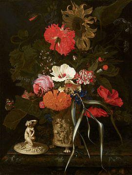Blumen in einer dekorativen Vase, Maria van Oosterwyck von Meesterlijcke Meesters