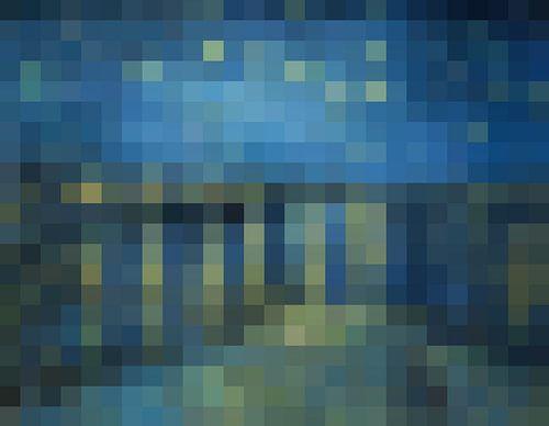 Pixel Art: Sterrennacht boven de Rhône van