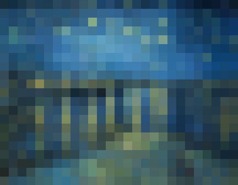 Pixel Art: Sterrennacht boven de Rhône van J. C. Delanaye