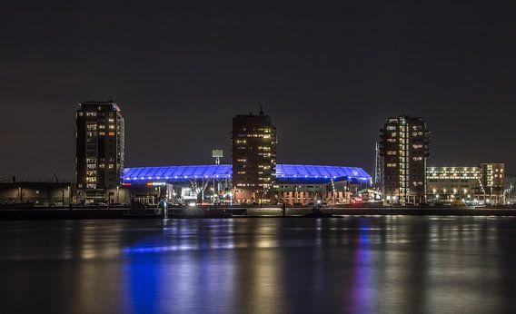 Feyenoord Rotterdam stadium 'De Kuip' at night van Tux Photography