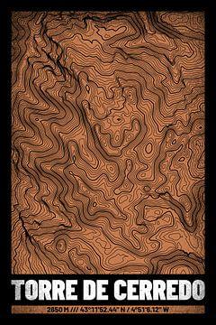 Torre de Cerredo | Landkarte Topografie (Grunge) von ViaMapia
