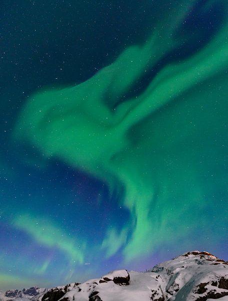 Poollicht of Noorderlicht in de nacht boven Noord-Noorwegen van Sjoerd van der Wal