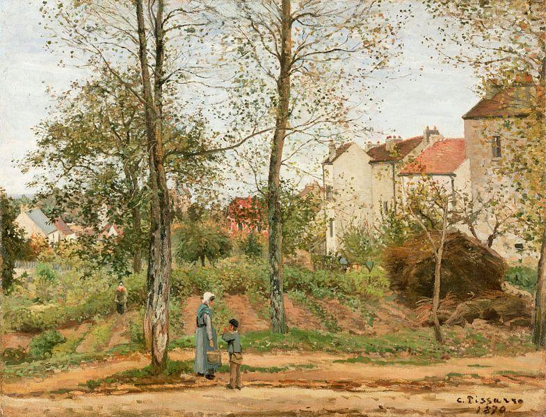 Häuser in Bougival (Herbst), Camille Pissarro von Meesterlijcke Meesters