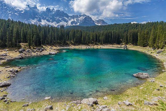 Lake Carezza and mountain range