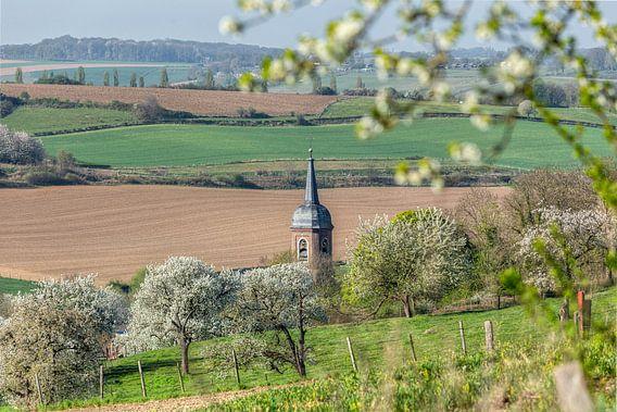 Kerktoren van Eys tussen de bloesem