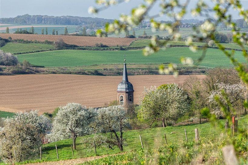 Kerktoren van Eys tussen de bloesem van John Kreukniet