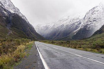 De mistige weg in Nieuw-Zeeland van Linda Schouw