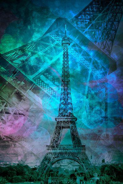 Pop Art Eiffel Tower II van Melanie Viola