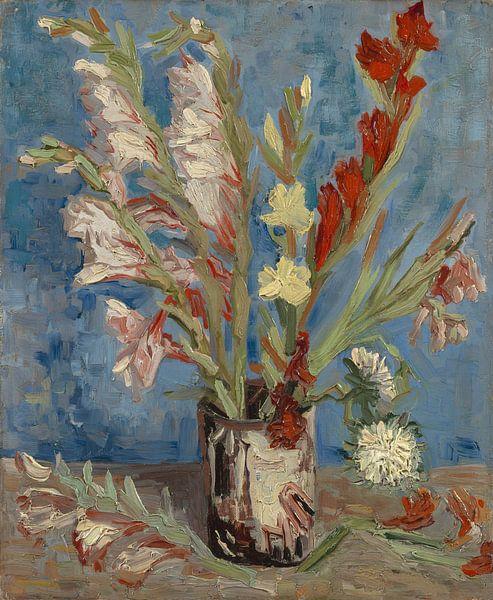 Vase mit Gartenladiolen und chinesischen Astern - Vincent van Gogh von Meesterlijcke Meesters