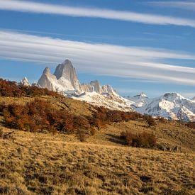 Ochtendlicht op berg Fitz Roy in Argentinië.  van Armin Palavra