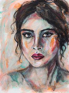 Abstract intuïtief portret vrouw met zwart haar van Bianca ter Riet