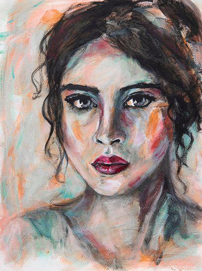 Abstract intuïtief portret vrouw met zwart haar