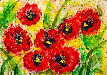 Rote Mohnblumenwiese von Klaus Heidecker