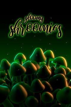 Gloomy Shroomies - champignons foncés dans une lumière mystérieuse sur Jörg Hausmann