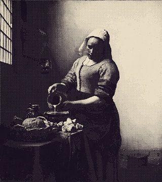 Milchmädchen Johannes Vermeer - in Doppelton-Punkten - Vintage-Ton von Maria Mina Arts