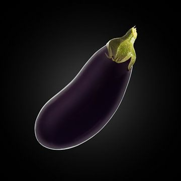 Food-Aubergine op zwarte achtergrond van Everards Photography