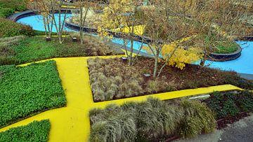 La Schipperplein avec ses ruelles jaunes caractéristiques à Almere, vue de dessus