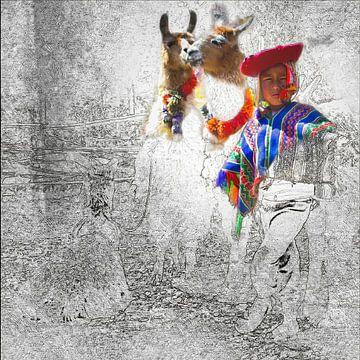 Jongen met 2 lama's in Peru, gemengde techniek van Rietje Bulthuis