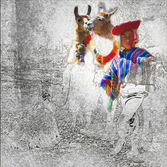 Jongen met 2 lama's in Peru, gemengde techniek