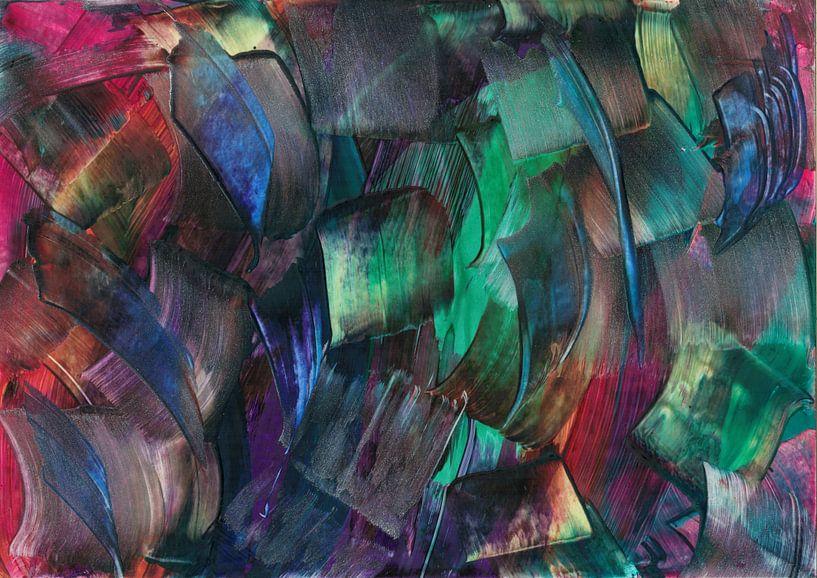 Abstracte gekleurde blokjes van Bethina de Reus