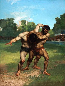 Worstelaars, Gustave Courbet, 1853 van Atelier Liesjes
