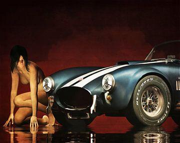 Erotik nackt - Nackte Frau mit einem Ford Cobra von Jan Keteleer