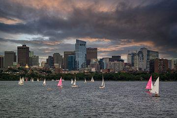 Zeilboten op de Charles river, Boston van Nynke Altenburg
