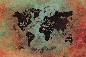wereldkaart zwart groen rood #kaart #wereldkaart van JBJart Justyna Jaszke