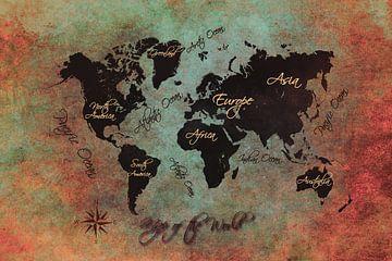 Weltkarte schwarz grün rot #Karte #Weltkarte von JBJart Justyna Jaszke