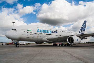Airbus A380 op het platform van Roque Klop