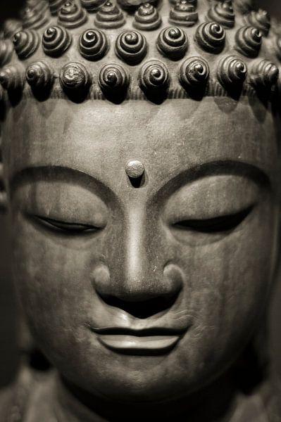 Hoofd van een stenen Buddha beeld in sepia sur Rob van Keulen