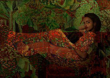 Portret van een liggende jonge vrouw van Marijke van Loon